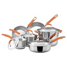 Rachael Ray 10 Piece Cookware Set in Stainless Steel & Orange