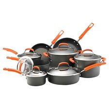 Rachael Ray Nonstick 14 Piece Cookware Set in Black & Orange