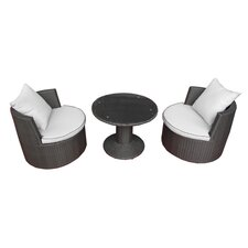 Yarmouth 3 Piece Seating Group in Brown with White Cushions