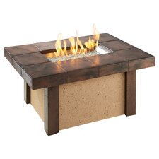 River's Edge Crystal Fire Pit Table in Brown & Beige