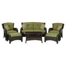 Strathmere 6 Piece Patio Seating Set in Brown with Cilantro Cushions