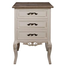 Chateau 3 Drawer Bedside Table in Antique Cream