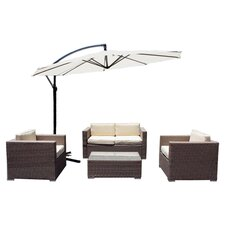Cane Garden 5 Piece Seating Group in Dark Brown with Beige Cushions