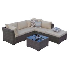 Jicaro 5 Piece Seating Group in Light Brown with Tan Cushions