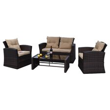 Roatan 4 Piece Seating Group in Black with Tan Cushions