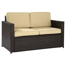 Loveseat in Brown with Beige Cushions