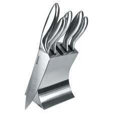 6 Piece Knife Block Set in Stainless Steel