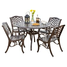 Cosette 5 Piece Dining Set in Bronze