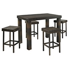 Celeron 5 Piece Pub Dining Set in Brown