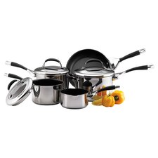 Elite 8 Piece Nonstick Cookware Set in Silver