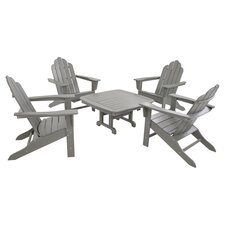 Polywood Long Island 5 Piece Adirondack Seating Group in Slate Grey