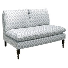 Ikat Settee Loveseat in Pewter