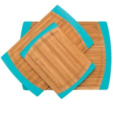 Bamboo 3 Piece Cutting Board Set in Blue & Natural