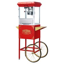 Roosevelt 8 Oz. Antique Popcorn Machine Cart in Red