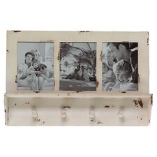 Hibiscus Picture Frame 4 Hook Wall Shelf in Beige