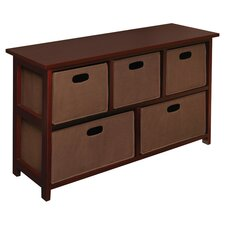 5 Fabric Folding Basket Storage Unit in Cherry
