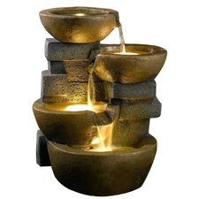 Palma Lighted Fountain in Brown