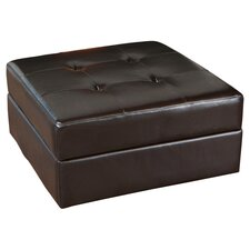 Van Ness Leather Storage Ottoman in Brown