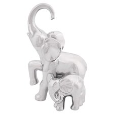 Elephant & Baby Figurine in Silver