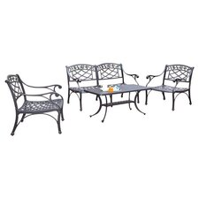 Sedona 4 Piece Lounge Seating Group in Charcoal Black