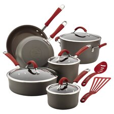 Rachael Ray Cucina Nonstick 12 Piece Cookware Set in Grey & Red