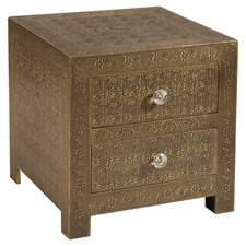 Portico 2 Drawer Chest in English Brass