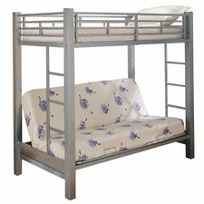 Eddyville Twin Over Futon Loft Bed in Silver