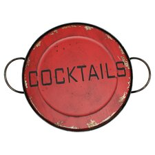 Cocktail Serving Tray in Aged Red