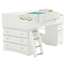 Roslyn Twin Storage Loft Bed in Pure White