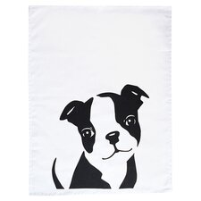 Boston Terrier Tea Towel in Black & White