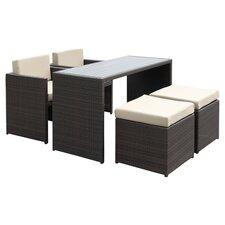 Shields 5 Piece Seating Group in Dark Brown with Beige Cushions