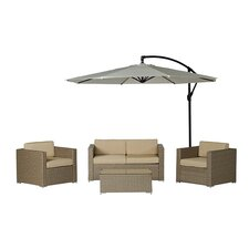 Cane Garden 5 Piece Seating Group in Light Brown with Beige Cushions