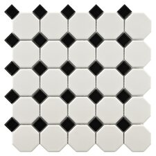 Retro Porcelain Mosaic Tile Sheet in White & Black