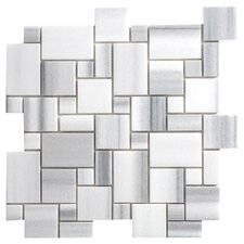 Equator Marble Mosaic Tile Sheet in White & Grey