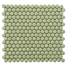 Penny Porcelain Mosaic Tile Sheet in Moss Green