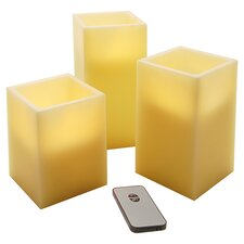 3 Piece Wax LED Square Candle Set in Yellow