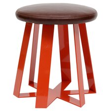 ARS Leather Stool in Orange & Smoke