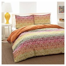City Scene Fiesta Stripe Comforter Set in Spice