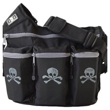 Skull & Cross Bones Diaper Bag in Black