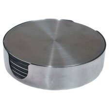 Claremont 7 Piece Round Coaster Set in Stainless Steel