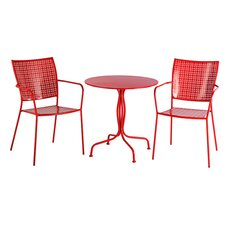 Martini 3 Piece Bistro Set in Cherry Red