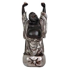 Laughing Buddha Figurine in Black & Silver