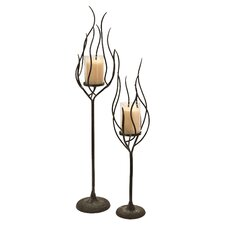 Anemone 2 Piece Hurricane Candle Holder Set in Dark Brown