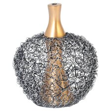 Oodle Apple Vase in Gold & Black