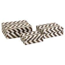 Zig Zag 3 Piece Inlay Box Set in Bone & Brown