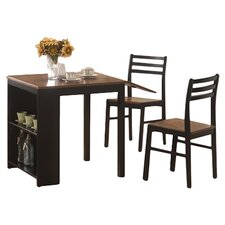 Harvest 3 Piece Dining Set in Black & Brown