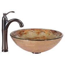 """Ares 17"""" Vessel Bathroom Sink & Faucet in Brown"""