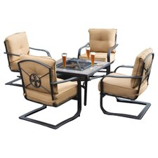 Soiree Spring 5 Piece Fire Pit Seating Group in Cortado Brown