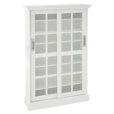 Windowpane Media Storage Cabinet in White