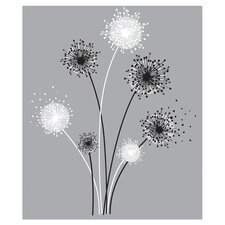 Graphic Dandelion Wall Decal in Black & White